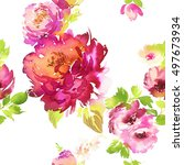 seamless pattern with flowers... | Shutterstock . vector #497673934