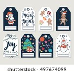 christmas and new year gift... | Shutterstock .eps vector #497674099