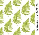 seamless pattern with leaves of ... | Shutterstock . vector #497677930