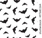 halloween vector flying black... | Shutterstock .eps vector #497681164