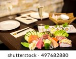 assorted dishes in table... | Shutterstock . vector #497682880