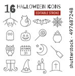 Halloween Linear Icons Set Wit...