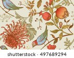 Stock vector vintage japanese chrysanthemum flowers pomegranates branches leaves and birds vector seamless 497689294