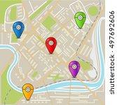 abstract city map flat design...   Shutterstock .eps vector #497692606