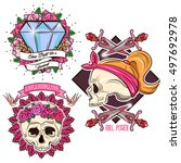 colored tattoo set with female... | Shutterstock .eps vector #497692978