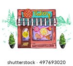 colored bakery cafe windows... | Shutterstock .eps vector #497693020