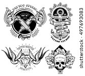 tattoo studio monochrome... | Shutterstock .eps vector #497693083