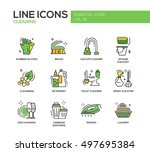 cleaning   modern vector line... | Shutterstock .eps vector #497695384