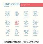russian national symbols   set... | Shutterstock . vector #497695390