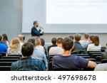 speaker giving a talk at... | Shutterstock . vector #497698678