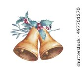 watercolor christmas bells with ... | Shutterstock . vector #497701270