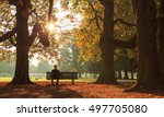 Man Sitting On A Bench In A...