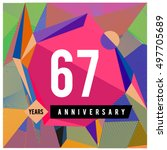 67th years greeting card... | Shutterstock .eps vector #497705689