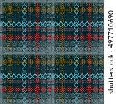 boho style. ethnic plaid... | Shutterstock .eps vector #497710690