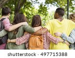 diverse group young people... | Shutterstock . vector #497715388
