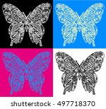 Lace Butterfly Vector - 4 color set