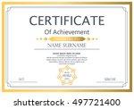vector certificate template.... | Shutterstock .eps vector #497721400