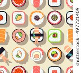 japanese food sushi vector... | Shutterstock .eps vector #497721409