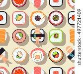 japanese food sushi vector... | Shutterstock .eps vector #497721409