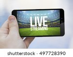 live streaming mobile concept ... | Shutterstock . vector #497728390