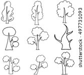 doodle of tree collection on...   Shutterstock .eps vector #497731093