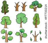 doodle of tree collection... | Shutterstock .eps vector #497733214