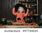little girl witch in black...
