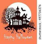 happy halloween vintage... | Shutterstock .eps vector #497736376