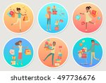 set of banners sale with people.... | Shutterstock . vector #497736676