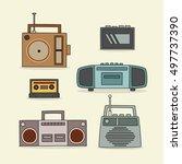 retro radio hand drawn icon.... | Shutterstock .eps vector #497737390