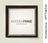 wooden picture frame. vector... | Shutterstock .eps vector #497738533