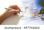 hand writing on a luxurious... | Shutterstock . vector #497743603