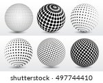 abstract halftone 3d spheres... | Shutterstock .eps vector #497744410