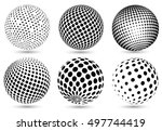abstract halftone 3d spheres... | Shutterstock .eps vector #497744419