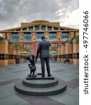 """Small photo of LOS ANGELES, SEP 19TH,2016:The Partners Statue,depicting Walt Disney and Mickey Mouse, in front of the Seven Dwarfs Building (aka """"Team Disney Building"""") on the Walt Disney Studios lot in Burbank, CA."""