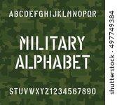 stencil alphabet font. type... | Shutterstock .eps vector #497749384