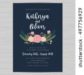 wedding invitation card... | Shutterstock .eps vector #497756929