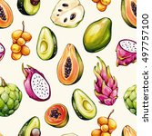 tropical pattern. exotic... | Shutterstock . vector #497757100