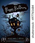 halloween party castle in... | Shutterstock .eps vector #497761684
