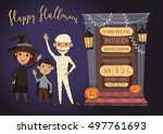 halloween party invitation with ... | Shutterstock .eps vector #497761693