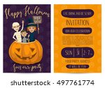 halloween party invitation with ... | Shutterstock .eps vector #497761774