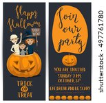 halloween party flyers set with ... | Shutterstock .eps vector #497761780