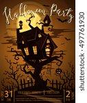 halloween party castle in... | Shutterstock .eps vector #497761930