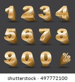 three dimensional number set 0... | Shutterstock .eps vector #497772100