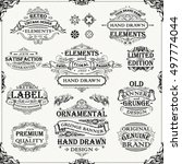 retro hand drawn banner frames | Shutterstock .eps vector #497774044