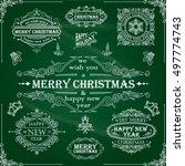 set christmas retro frame   Shutterstock .eps vector #497774743