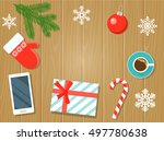 christmas decorations with... | Shutterstock .eps vector #497780638