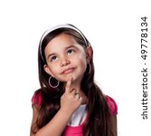 deep in thought with finger on... | Shutterstock . vector #49778134