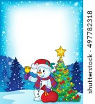 christmas snowman topic image 5 ... | Shutterstock .eps vector #497782318