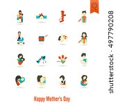 happy mothers day simple flat... | Shutterstock .eps vector #497790208